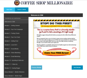 The Coffee Shop Millionaire members' area