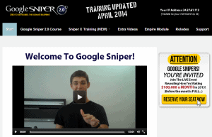 Google Sniper members' area navigation