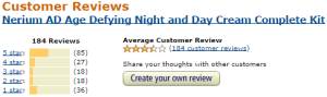 Amazon customer rating of Nerium Night and Day Cream