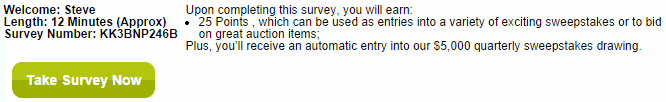 VIP Voice prompted me to start my first survey for 25 points