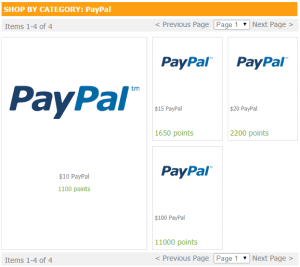 Redeeming points for cash through PayPal