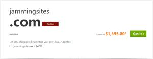 JammingSites.com for sale on GoDaddy