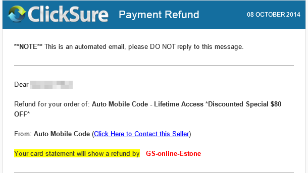 Refund confirmation email
