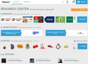 Rewards Center home screen