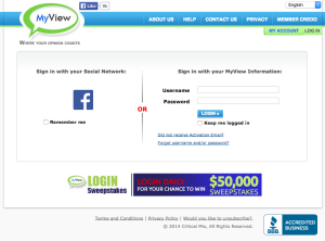MyView homepage lacks any information