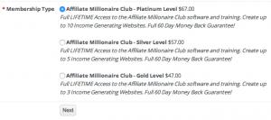 affiliate millionaire club membership levels