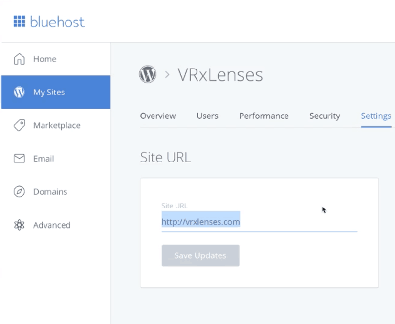 Bluehost Manage Site