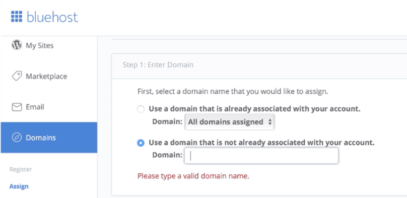 Bluehost WordPress Tutorial: Bluehost, assign a domain to your cPanel account
