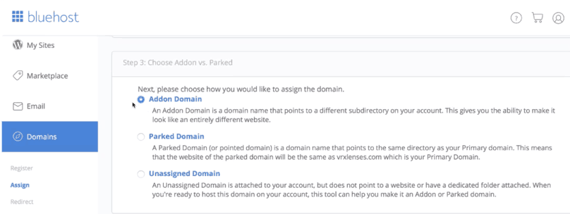 Bluehost WordPress Tutorial: Bluehost, assign a domain to your cPanel account step 3