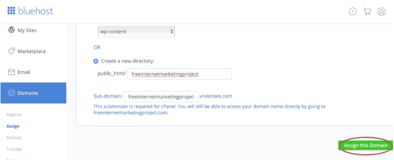 """Bluehost WordPress Tutorial: Bluehost, assign a domain to your cPanel account, """"Assign this Domain"""" button"""