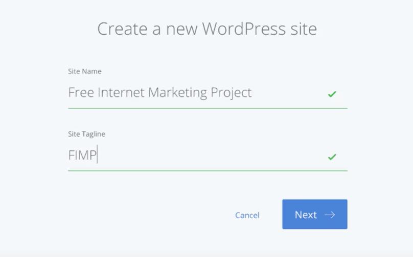 "Bluehost WordPress Tutorial: Bluehost's ""Create a new WordPress Site"" page"