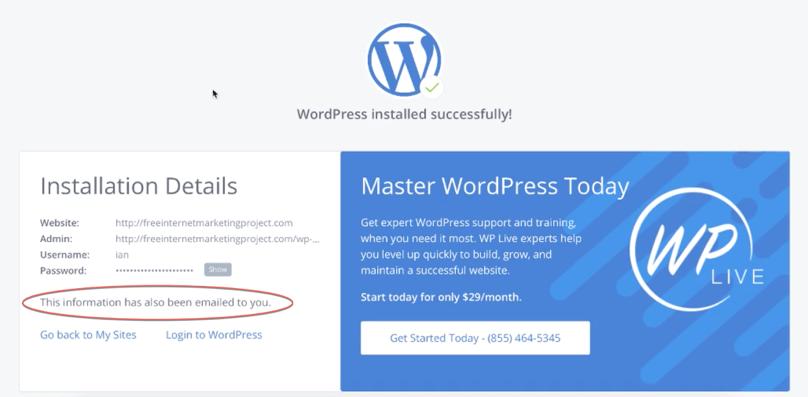 Bluehost WordPress Tutorial: Bluehost's WordPress installation confirmation