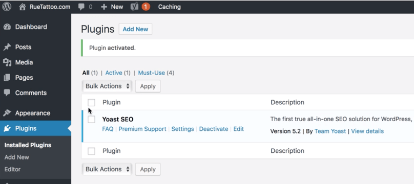 WordPress Dashboard Yoast SEO Activated
