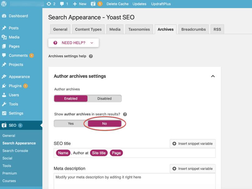 WordPress Dashboard Yoast SEO Search Appearance