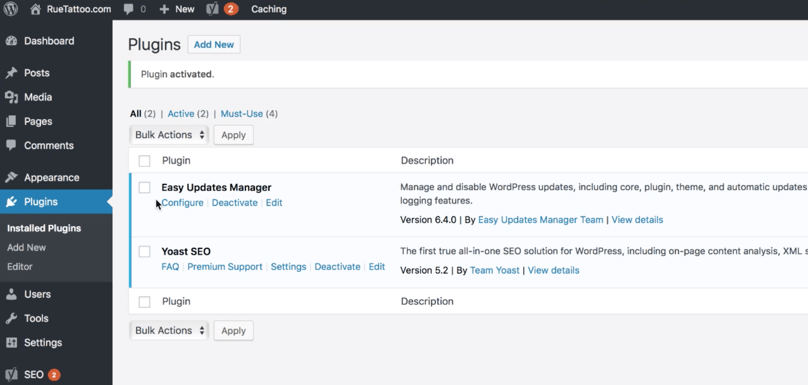 Must-Have WordPress Plugins For Bloggers: WordPress Dashboard Easy Updates Manager Activated