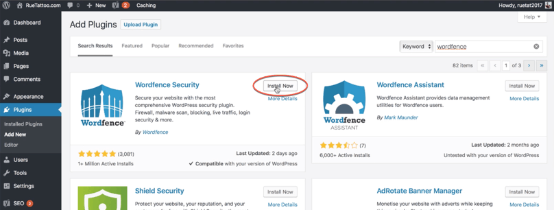 Must-Have WordPress Plugins For Bloggers: WordPress Dashboard Install Wordfence Security