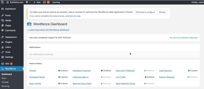 WordPress Dashboard Wordfence Security Dashboard