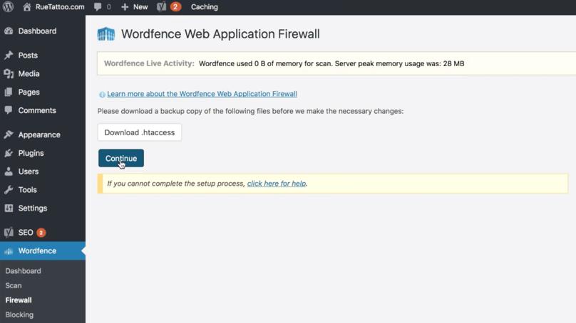 WordPress Dashboard Wordfence Security Web Application Firewall
