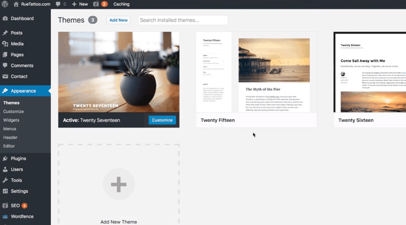 """WordPress Dashboard, Appearance, """"Themes"""" page"""