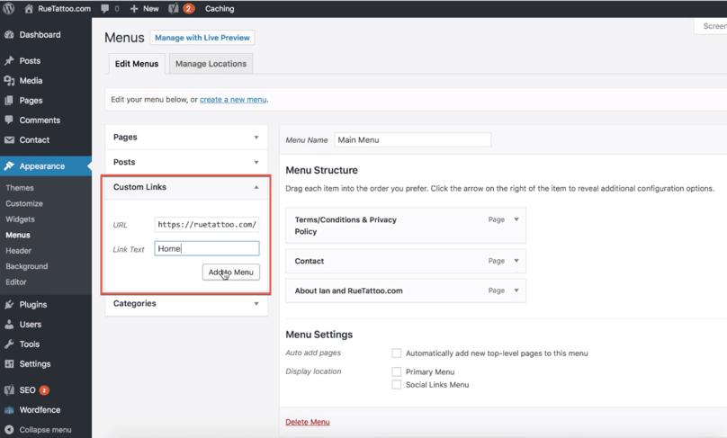 WordPress Dashboard Edit Menu Custom Link