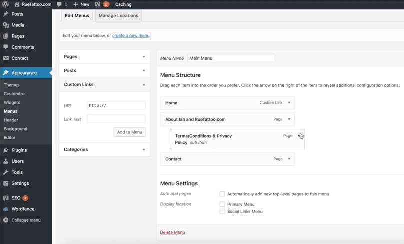 WordPress Dashboard Custom Link