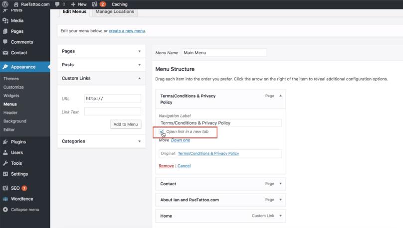 WordPress Dashboard Open link in a new tab