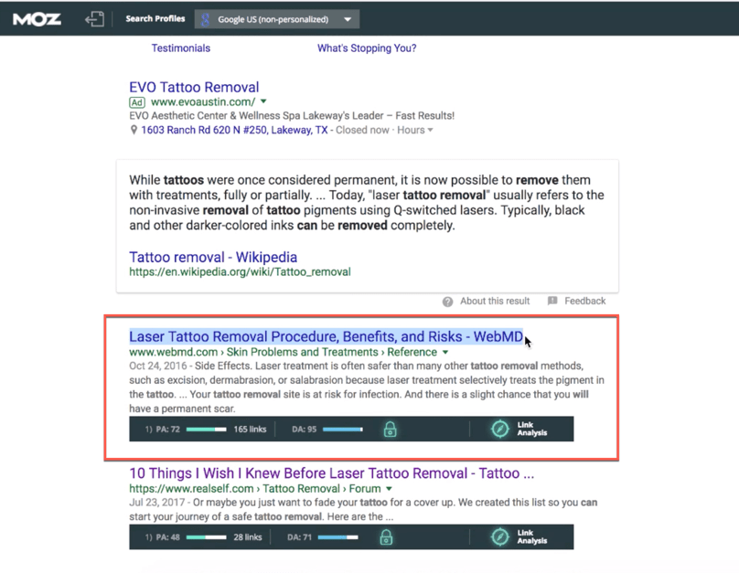 Google Search Results Page One Search Result Meta Title Highlighted