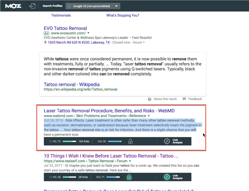 Google Search Results Page One Search Result Meta Description Highlighted