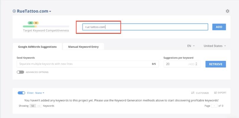 Long Tail Pro: Enter Domain Name
