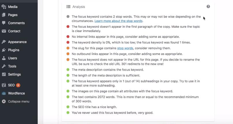 WordPress Dashboard Yoast SEO Analysis