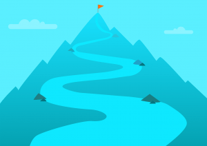 How To Succeed In Online Marketing: winding path on side of mountain toward flag at the peak
