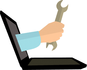 hand coming out of a monitor, holding a wrench