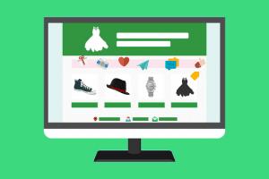 Types of Online Business Models: illustration of e-commerce website on a macbook
