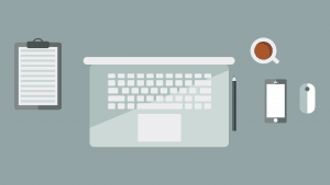 Types of Online Business Models: illustration of laptop on desk with paper, pen, coffee, phone