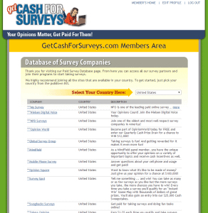 List of surveys in the members' area