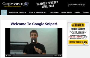 Google Sniper members' area navigation