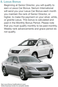 Nerium's Lexus Bonus program details
