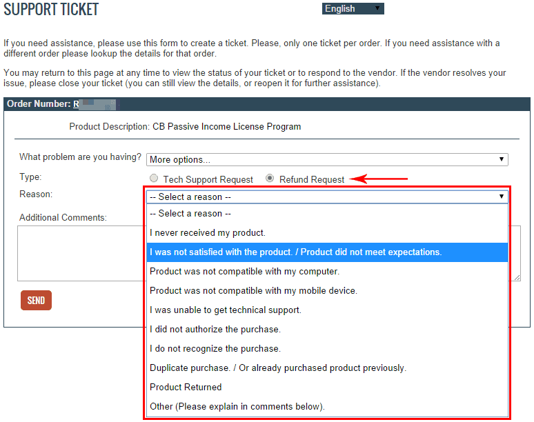 Select refund request and any option you'd like