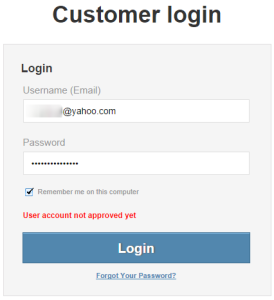 User account not approved error message when trying to log in