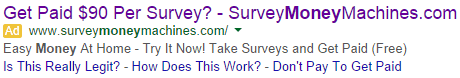 Survey Money Machines Google ad