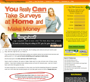 Survey Money Machines sales page