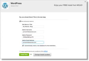 Wordpress admin setup