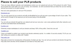places to sell the plr products
