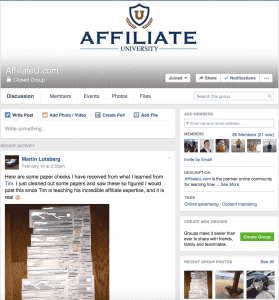 AffiliateU Facebook Group