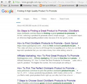 How to find a high quality product to promote google