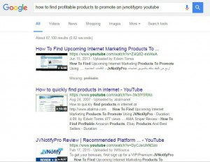 how to find products to promote on jvnotifypro google