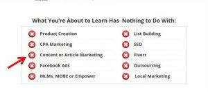 No content marketing