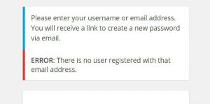 No user registered with that email address