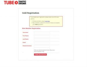 The registration web form