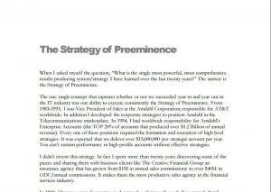 The strategy of preeminence